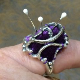 7 Hearts Sterling Silver Pincushion Ring
