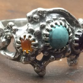 JanLinn Sterling silver Ring with Three Gemstones