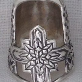 Jinny Beyer Tiny Sterling Silver Thimble , no gem – open nail