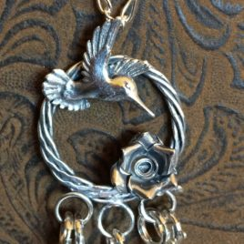 Hummingbird Wreath Chatelaine in Sterling Silver