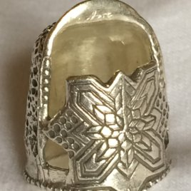 Jinny Beyer Large Sterling Silver Thimble , no gem – open nail