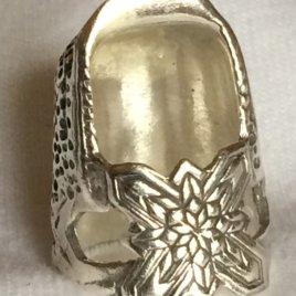 Jinny Beyer Tall Sterling Silver Thimble, no gem, open nail