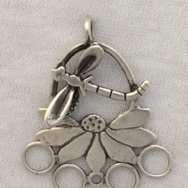 Coneflower and Dragonfly chatelaine in Sterling Silver