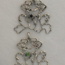 Sterling Silver Frog Chatelaine, with gem