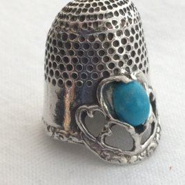 Gail Sterling Silver Dome Thimble with a gemstone