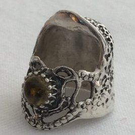 Lacy Heart Sterling Silver Thimble, with gem