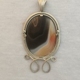 Large Gemstone in Sterling Silver Frame/Chatelaine