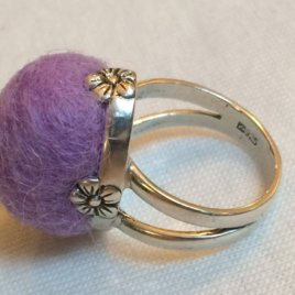 Sterling Silver and Felted Wool Pincushion Ring  – Mini Flower
