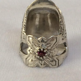Jinny Beyer Sterling Silver Thimble, tall, with gem, open nail