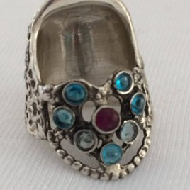 8 Gems Lacy Heart Thimble in Sterling Silver