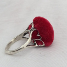 Sterling Silver Pincushion Ring with Heart Basket