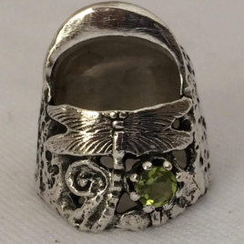 Liz Dragonfly Sterling Silver Thimble, with gem, open nail