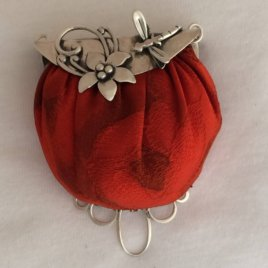 Flower and Dragonfly Purse with Pincushion Chatelaine